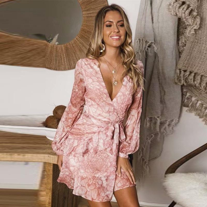 Long-sleeved chiffon retro ruffled dress