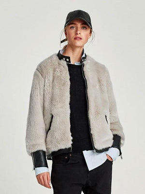 New PU Fur Stitching Jacket Autumn Coat