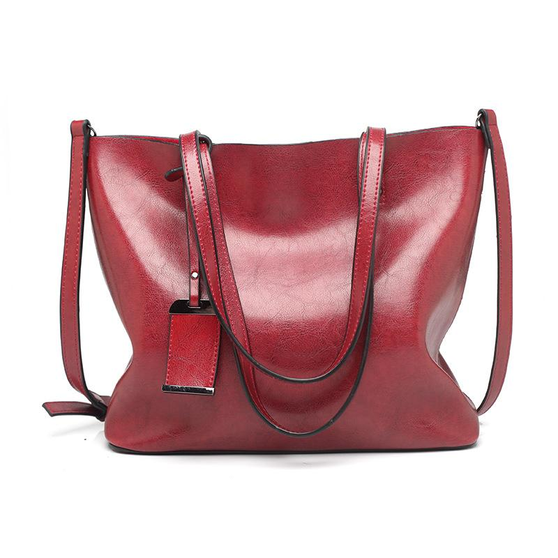 Fashion Tote Bag Retro Oil Leather Large Capacity Shoulder Bag
