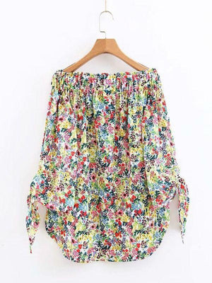 Slash Neck Printing Shirts Long Sleeve Sweet Blouses