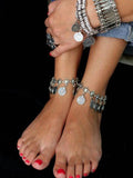 Fashion Bohemia Retro Silver Carve Coin Pattern Tassels Foot chain Accessories