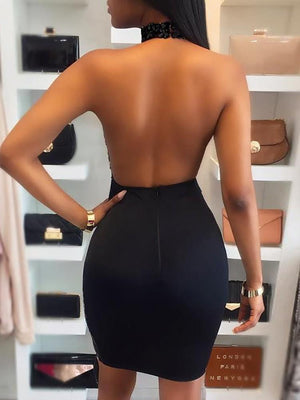 Sexy Cut Out Backless Sequin Party Dress