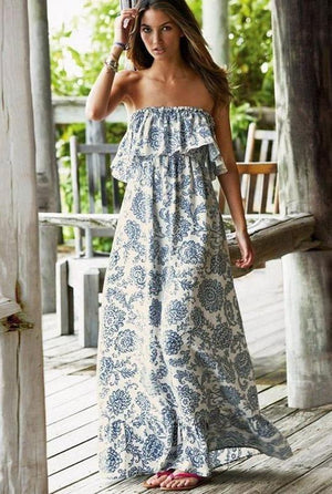Bohemia Falbala Off Shoulder Maxi Dress