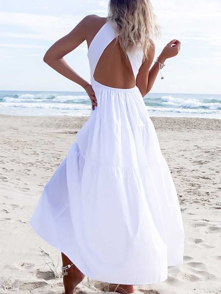 White Boho Sleeveless Solid Maxi Dress