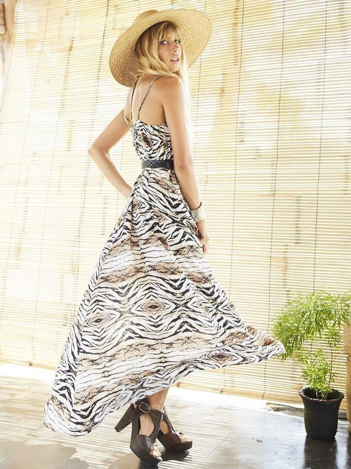 Leopard print Vintage Summer Beach Long Dress