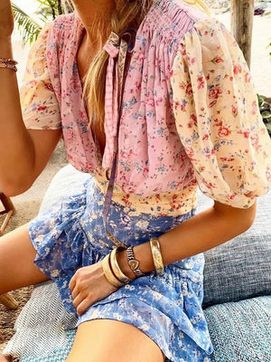 Chic High Waist Floral Printed Mini Dress