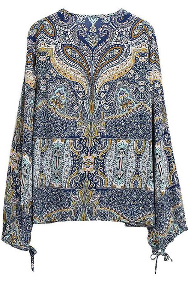 Women Floral Boho Vintage Blouse Casual Long Sleeve V-Neck Tops