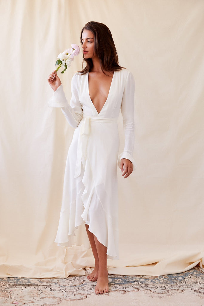 Dream Girl White V-neck Adjustable wrap Maxi Dress