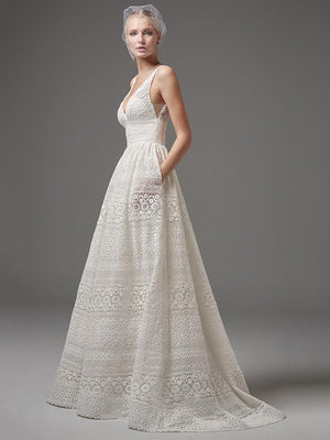 Boho Romance Lace Wedding Crochet Accents Maxi Plus Size Dress