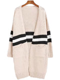 Stripe Block Open Wrap Cardigan
