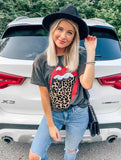 Short Sleeve Casual Loose Tops Round Neck T Shirt Lips Leopard Printed Shirt TShirt