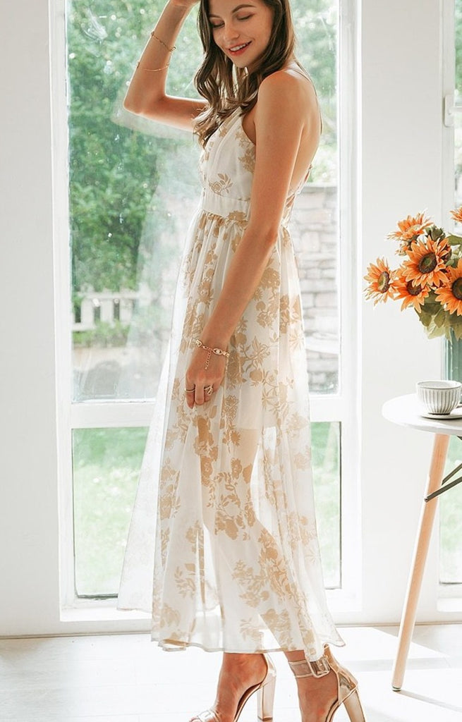 Elegant Tulle Printed Slim Beach Maxi Dress