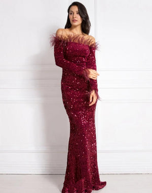 Burgundy Shiny Sequin Feather Velvet Stretchy Slash Neck Dress