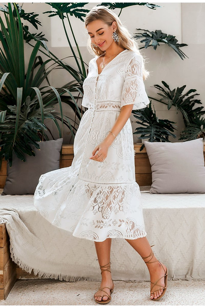 Women's White Hollow Out Lace V-neck High Waist Ruffled Summer Spring Chic Slim Fit Party Dress