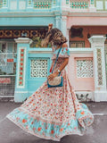 Off Shoulder Large Swing Printed Vacation Bohemian Dress
