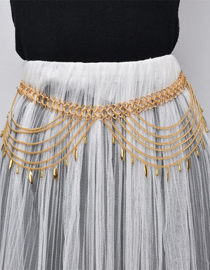 Boho Multilayer Body Chain Leaf Tassels Bikini Beach Halter Waist Chain
