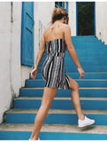 Striped Strapless Beach Regular Backless Boho Casual Jumpsuit