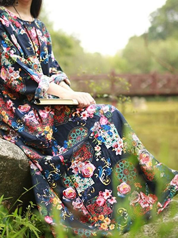 Long Sleeve Loose Cotton Oversize Outdoor Maxi Dress