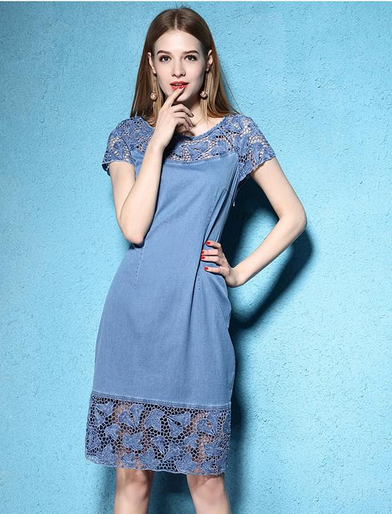 Short Sleeve Cotton Lace Embroidery Preppy Denim M-4XL Dress