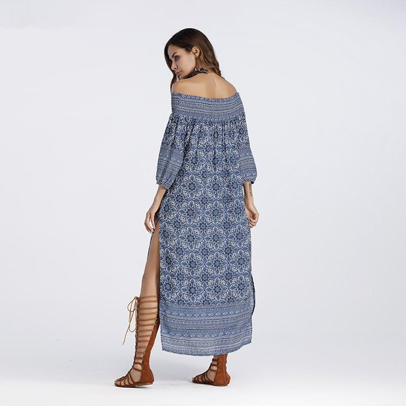 Blue Floral Off Shoulder Boho  Split Casual Maxi Dress