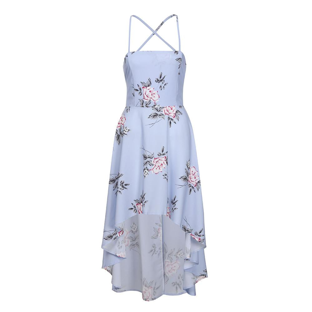 Halter Strapless Floral Print Blue Party Sexy Backless Boho Beach Dress