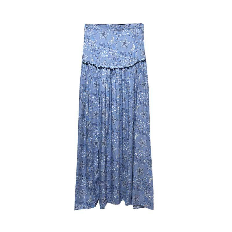 Blue Floral patchwork elastic waist high Split chic Top&Skirt
