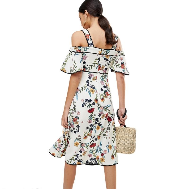 Women Floral Midi Strap Ruffle Short Sleeve Split Side Bodycon Dress