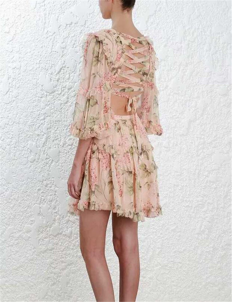 Floral Chiffon Boho Deep V neck backless Dress