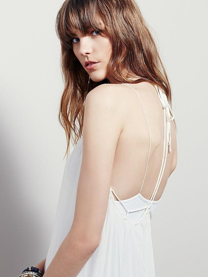 White Spaghetti strap See-through Embroider Beach Casual Dress