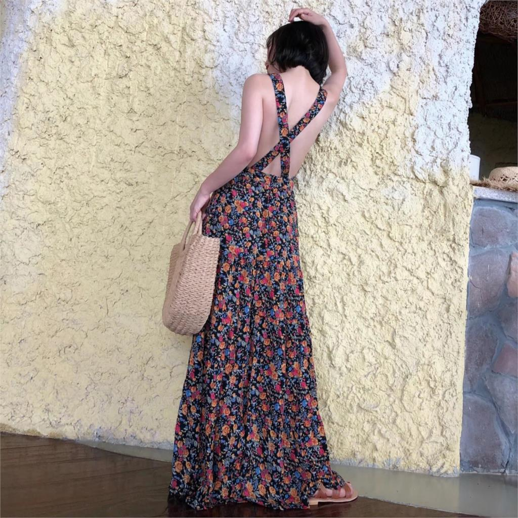 Vintage Floral Sexy Crossed Back Maxi Boho Casual Beach Dress