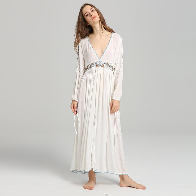 Bohemian Sexy Deep V Neck Long Vintage Cotton Embroidery Dress