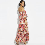 Maxi Chiffon Red Floral Sexy Off Shoulder Ruffles Dress