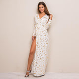 Golden Sexy V Neck Elegant Maxi Long Sleeve Vestido