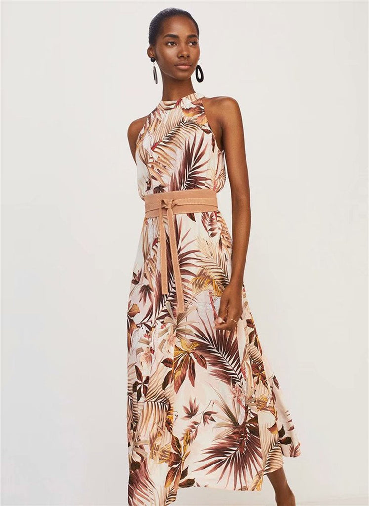 Sexy Halter Floral Sex sleeveless backless  chic Maxi Dress
