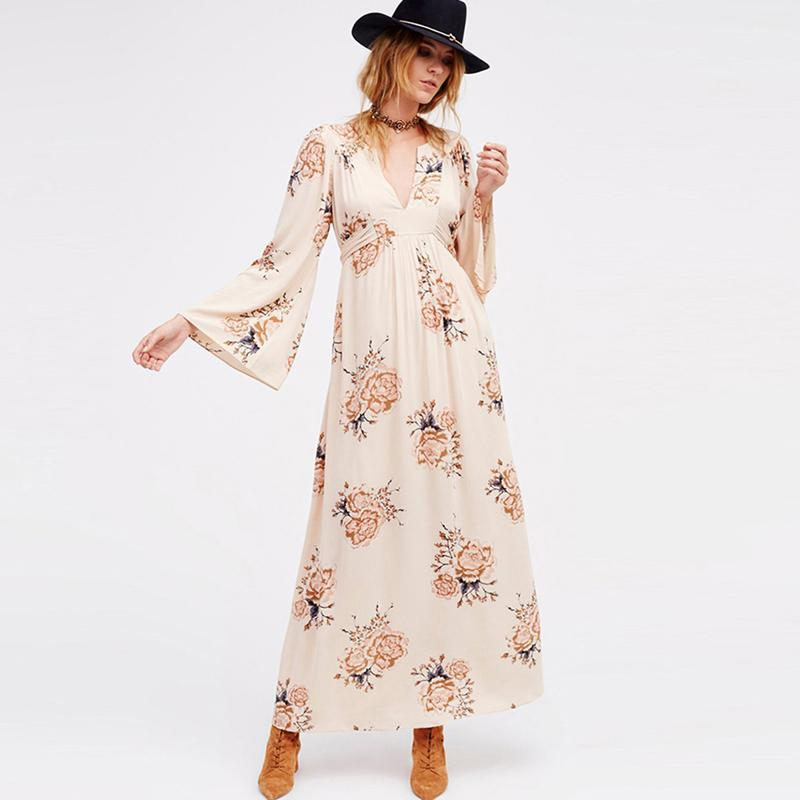 Boho maxi Vintage Floral cotton flare sleeve Dress
