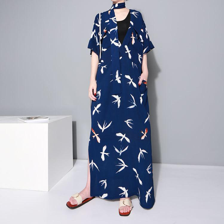 V Neck Floral Tunic Maxi Elegant Black Blue Vintage Beach Dress