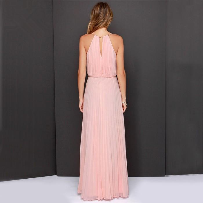 Sleeveless Halter Pleated Sexy Maxi Slim Casual Loose Chiffon Dress