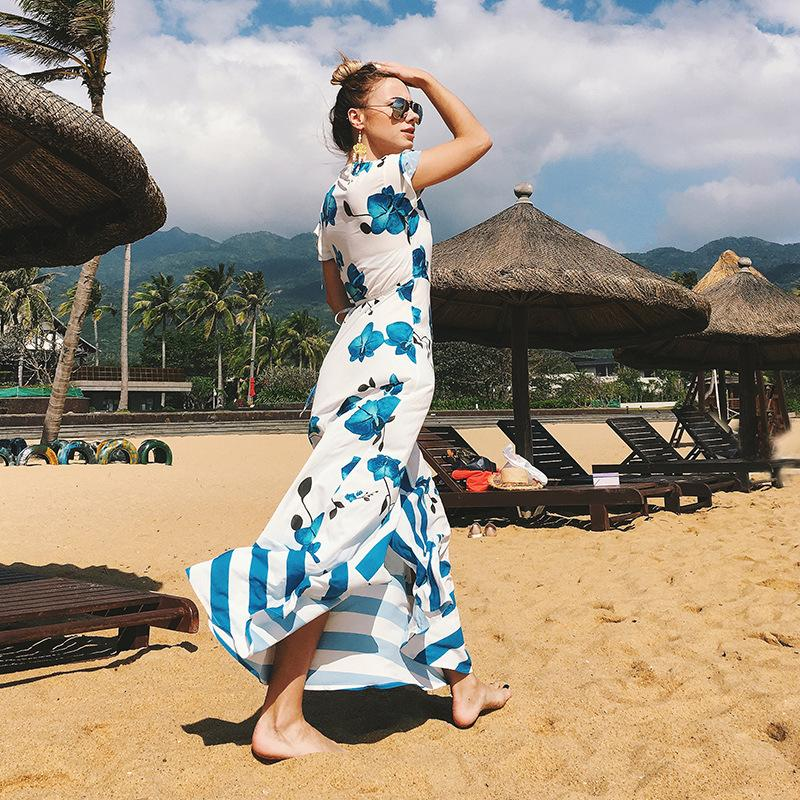 Asymmetric Sexy Sundress Blue Floral Split Maxi Beach Dress