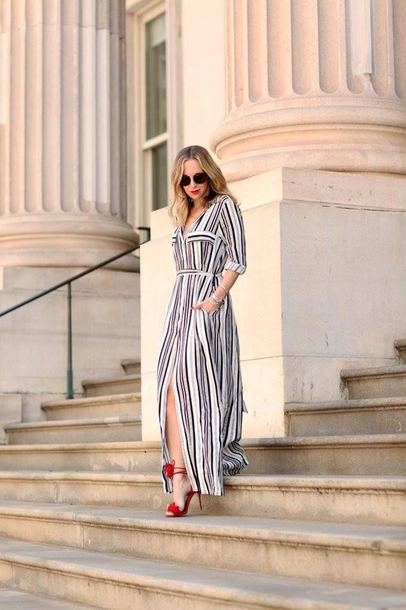 Black And White Striped Shirt Elegant Party Split Maxi  Dress