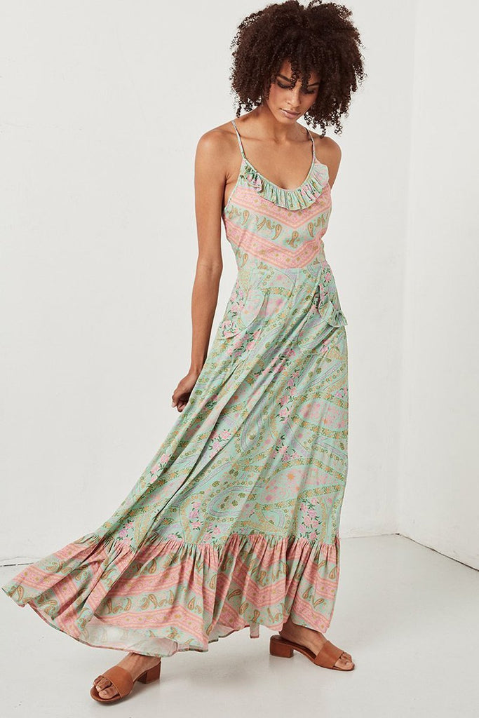Long Boho floral sexy sleeveless strap backless beach Dress