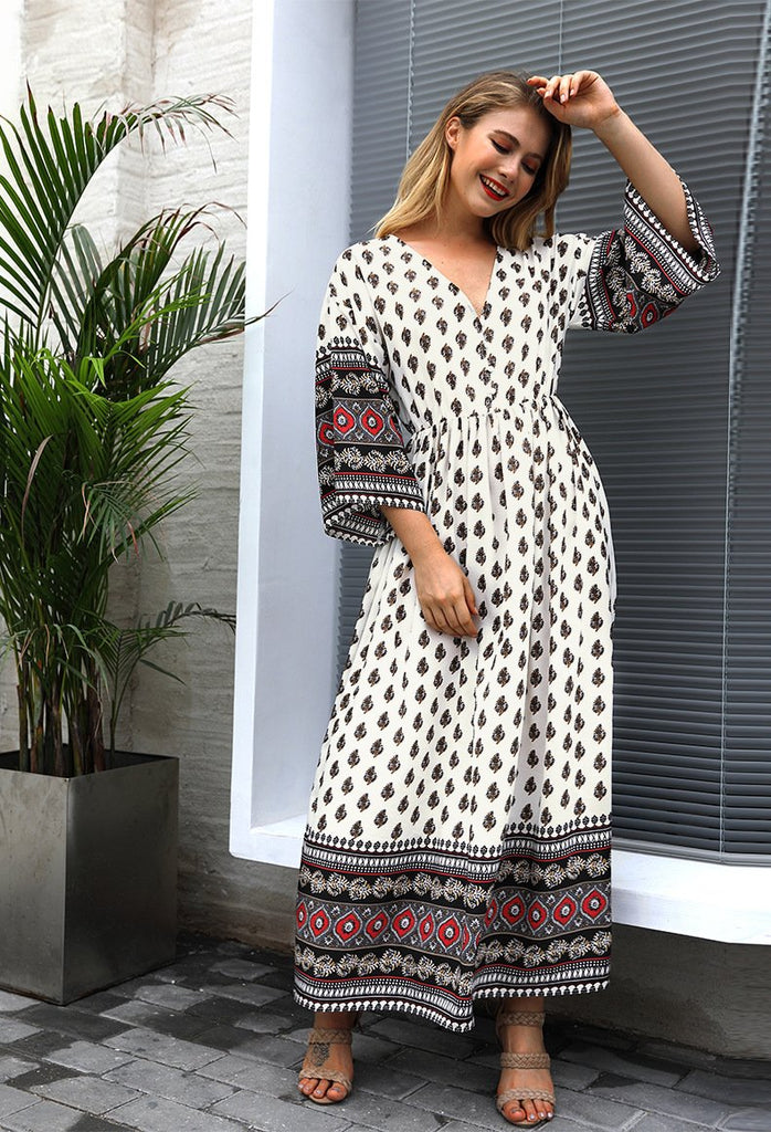 Three Quarter Sleeve Loose Chiffon Dot V-neck Maxi Boho Dress