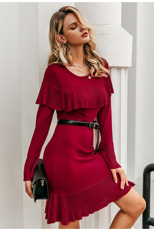 knitted Sweater Elegant Ruffle Bell Sleeve Mini Dress
