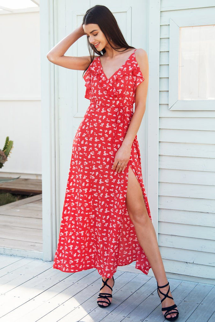 Floral Ruffle Print Strap Backless Boho Long Sleeveless Maxi Beach Dress