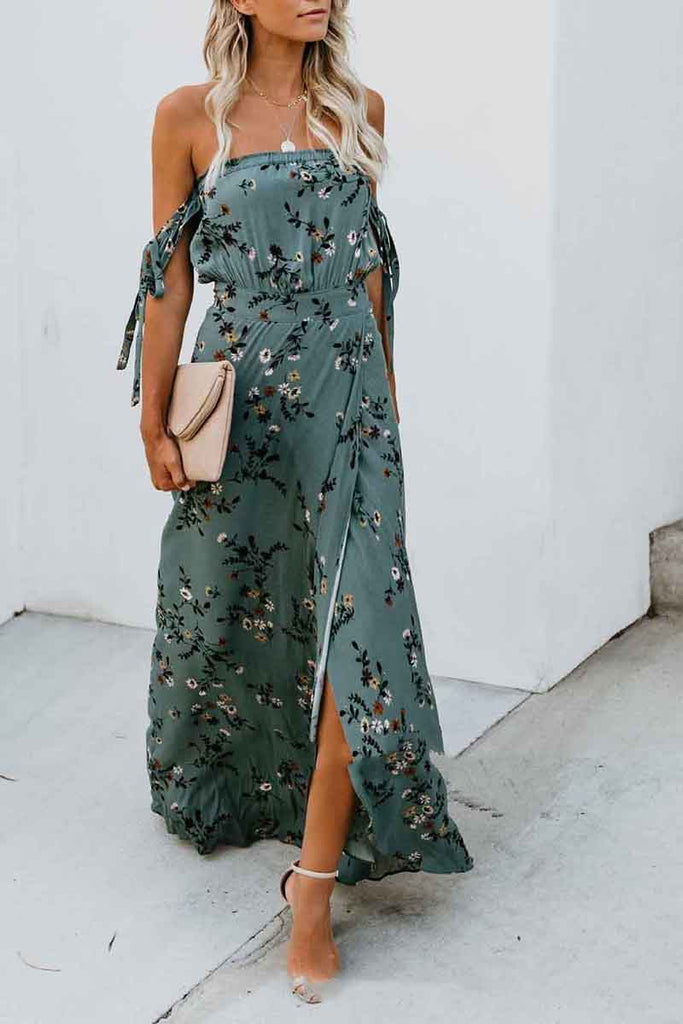 Printed Wrapped Slim Fit Super Long Swing Open Halter Dress