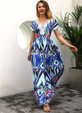 Flower Retro Bohemian Maxi  Sexy Ethnic Deep V-neck Dress