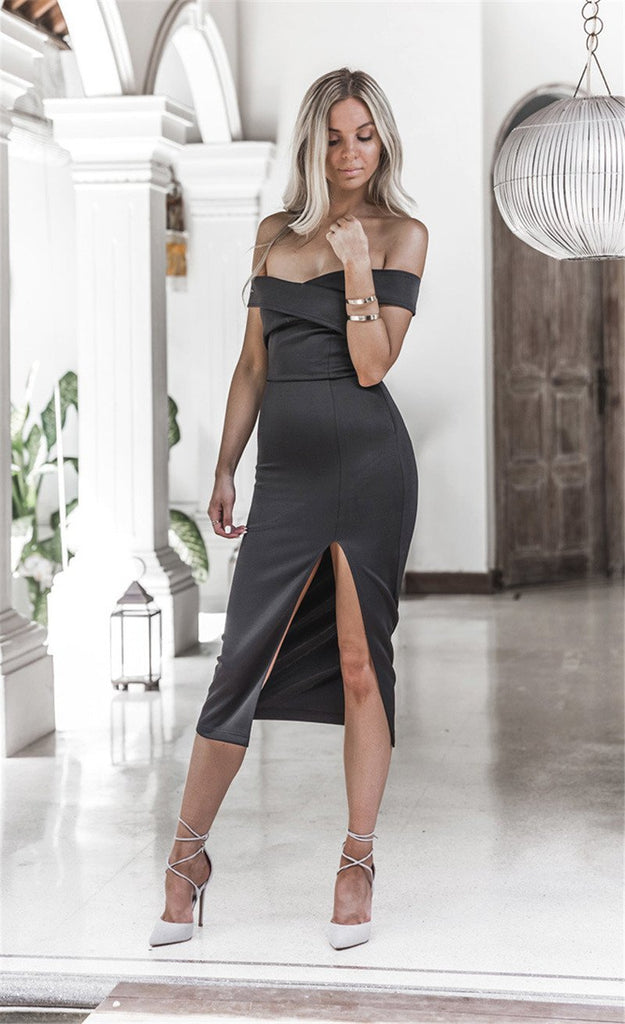 Women Sexy Off Shoulder Long Solid Party Club Bodycon Dress
