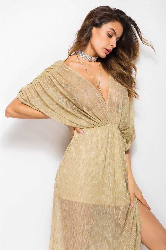 Polyester Pleated Solid Three Quarter Bats V Collar Dress