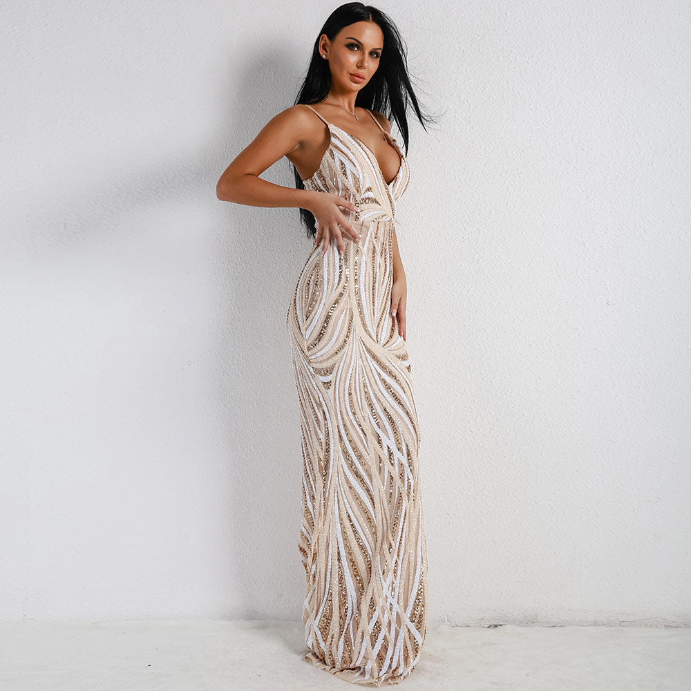 Sexy Graceful V Neck Off Shoulder Sequin Female Maxi evening Party Dress
