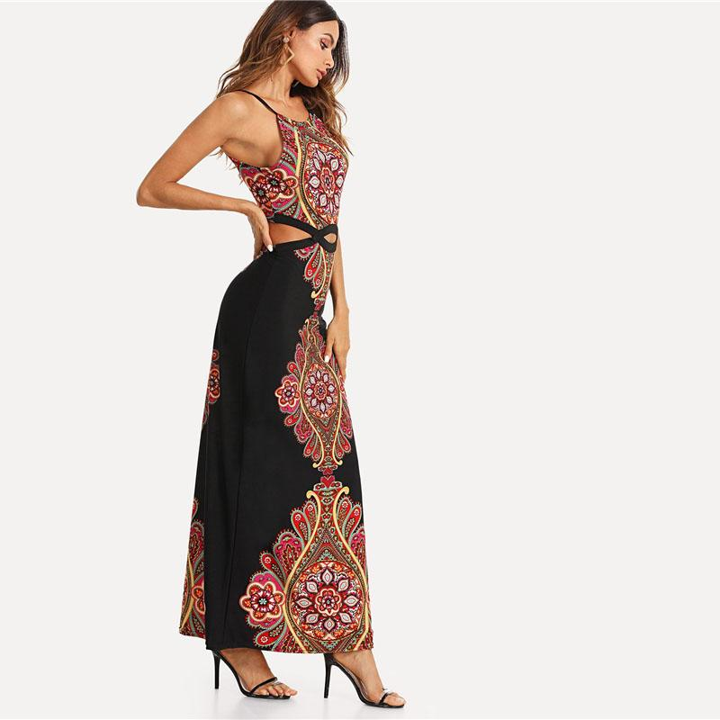 Pearls Boho Maxi Dress Halter Floral A Line Tribal Dress