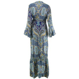 Women Multicolor Floral Button Split Flare Beach Boho Maxi Dress